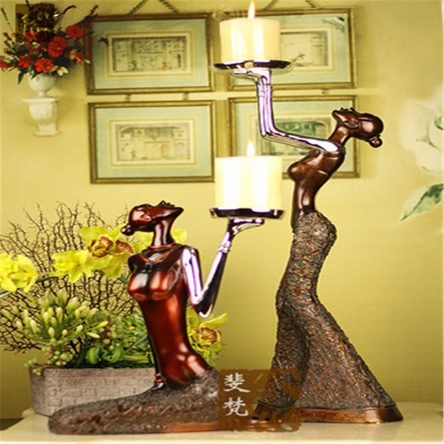 Luxury Large Candle Holder For Wedding Decorative Artwork Sconce Resin Candlestick Gold Candelabra Moro Candlestick JKL101