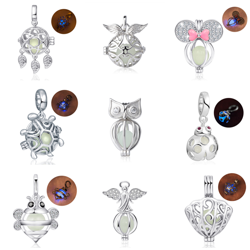925 Sterling Silver Charms owl bee butterfly angel tortoise glowing beads Fit Authentic pandora Bracelets diy fine Jewelry gift