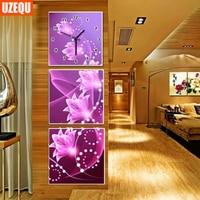 UzeQu Wall Clock 5D Diamond Painting Cross Stitch Dreamlike Floral Diamond Rhinestone Watch Three Picture Embroidery