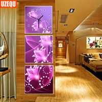 UzeQu Wall Clock 5D Diamond Painting Cross Stitch Dreamlike Floral Diamond Rhinestone Watch Three Picture Embroidery