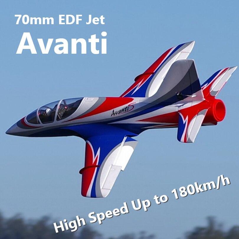 FMS RC Avion Avanti Bleu 70mm Ventilateur Soufflant EDF Jet Haute vitesse Grand modèle réduit Avion Avion PNP 6 S avec Rétracter Volets