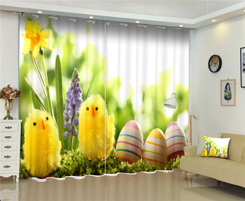 Curtains Yellow chicke print Luxury Blackout 3D Curtains For Living Room Kids Bedroom Drapes cortinas Rideaux Customized size