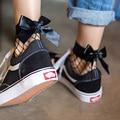 2017 Fashion Cute Women's Harajuku Black Mesh Short Ankle Socks Grid Fishnet Docks Sexy Bow Funny Ladies Socks In The Net Sokken
