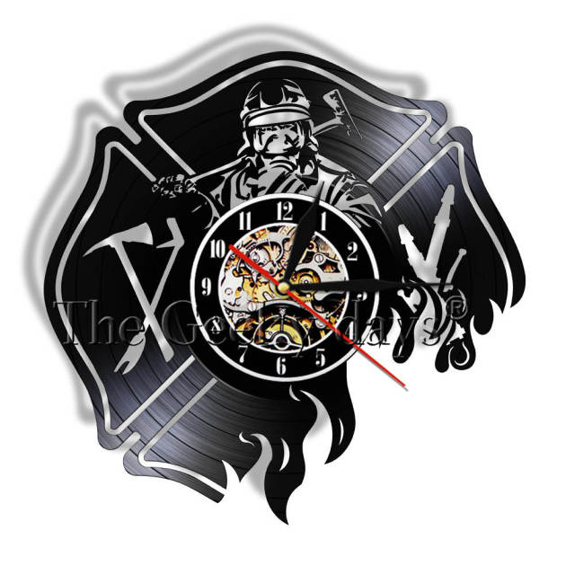 1 Piece Firefighter Modern Vinyl Record Wall Clock Fire Department