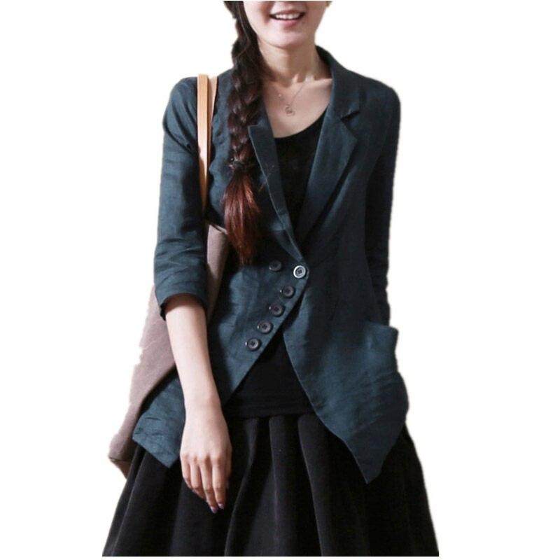 Spring Summer Jacket Plus Size 5XL Cotton Linen Casual Blazer Femme Irregular Half/Long Sleeves Slim Ladies Suit Coat F347