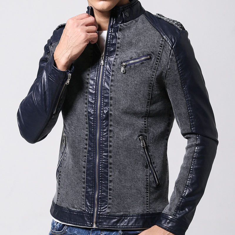 Chaqueta de jeans con manga de cuero