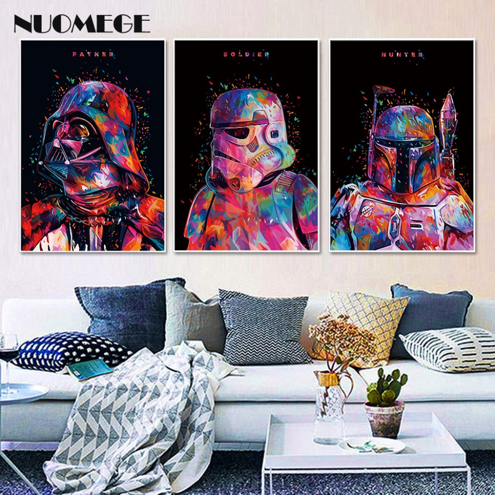 Star Wars 7 Movie Art Canvas Poster Painting Darth Vader Stormtrooper Movie Wall Picture Print Home Bedroom Corridor Decoration image