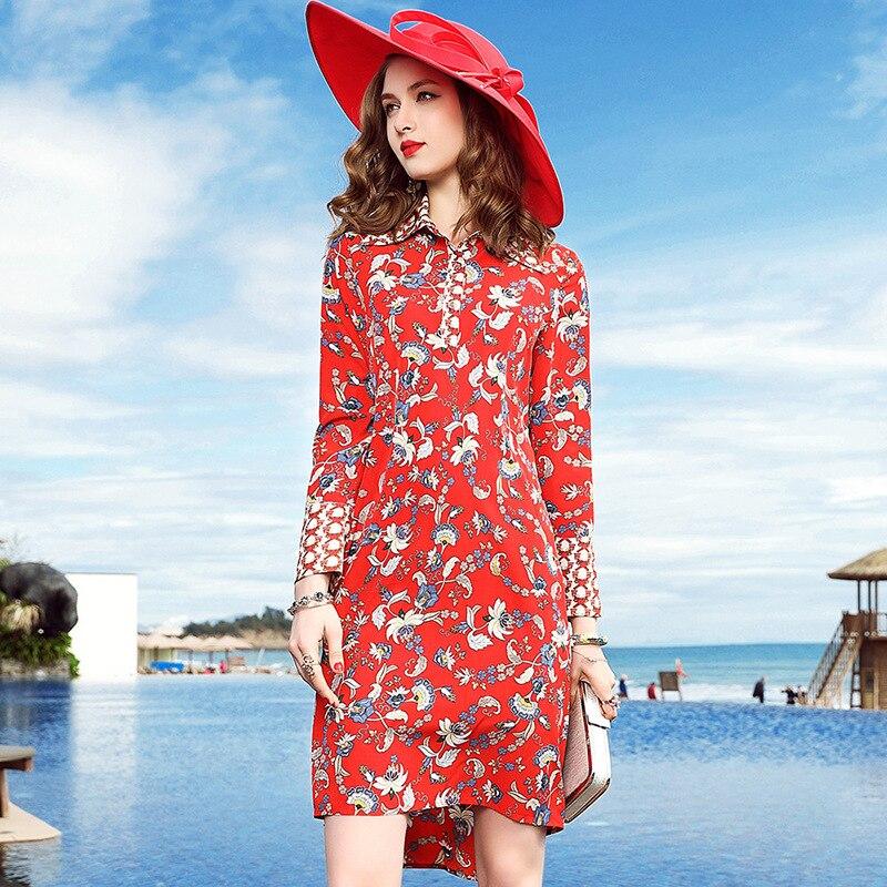 2018 новые весенние Для женщин с красным шелковое платье с длинными рукавами с лацканами Трубы рукавом тонкий-линии темперамент платье