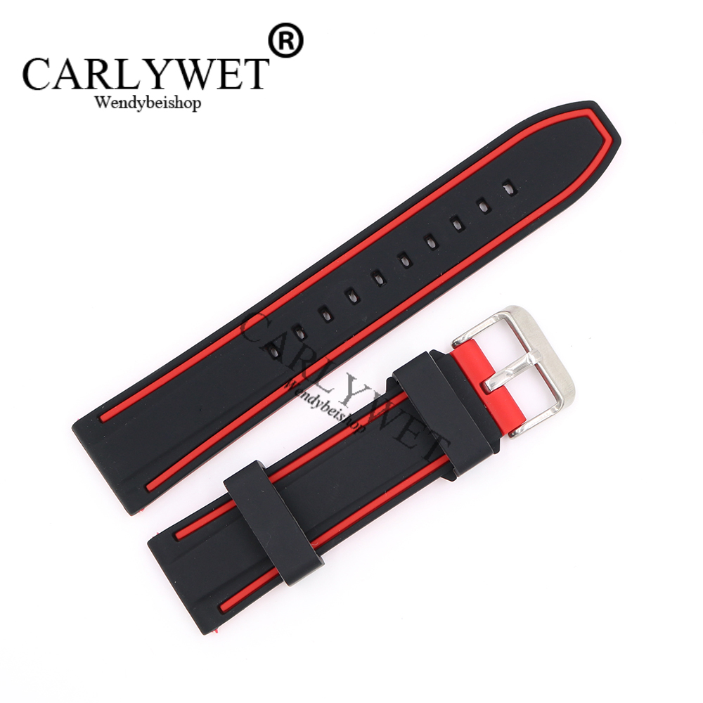 CARLYWET 22mm Wholesale Black With Red Waterproof Silicone Rubber Replacement Wrist Watch Band Strap with Silver Brushed Buckle black blue gray red 18mm 20mm 22mm waterproof silicone watchband replacement sport ourdoor with pin buckle diving rubber strap