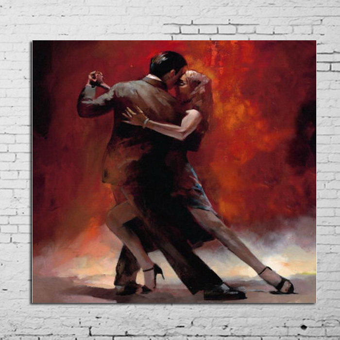 100% Handpainted Pictures Lover Tango Dance Modern Abstract Oil Painting On Canvas Wall Art For living room Home Decoration