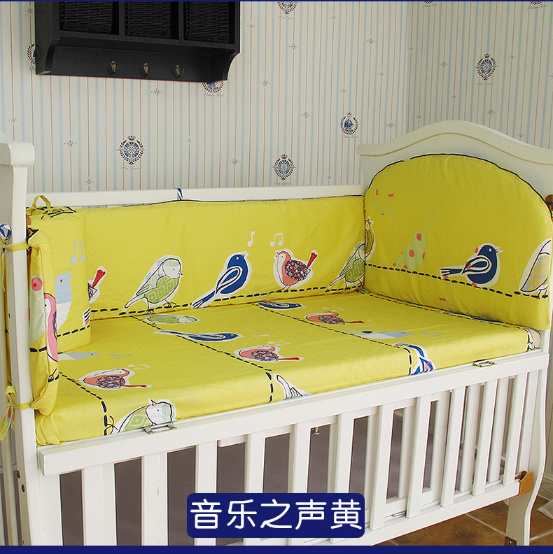 Promotion! 5PCS Cot Baby Bedding Set for Crib Newborn Baby Bed Linens for Girl Boy Cartoon ,include:(bumpers+sheet)