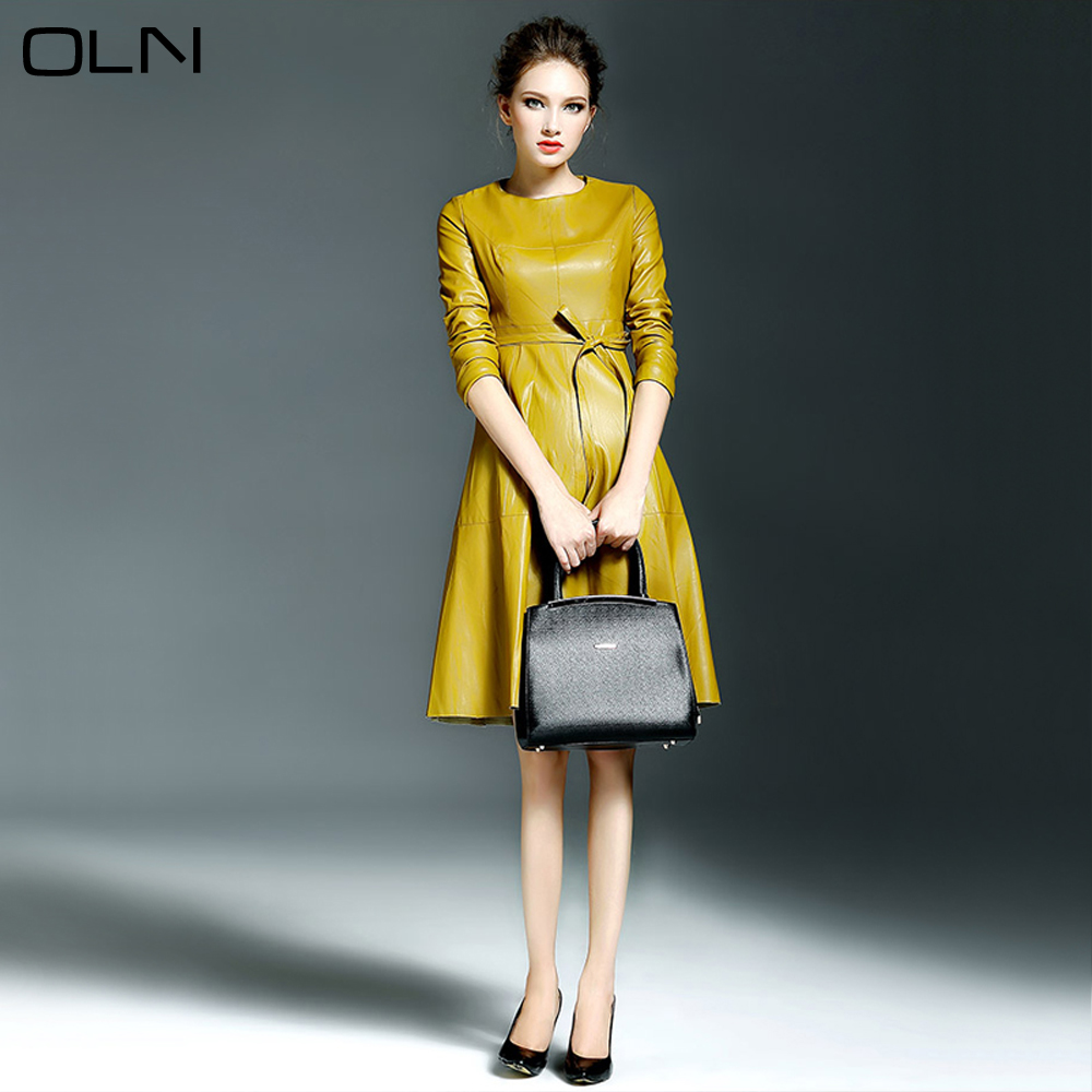 Fashion Yellow Black Pu Leather Dress Women 2017 Spring Leather