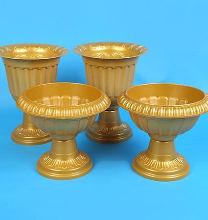 Wholesale Gold Plastic Trumpet Vase Round Base Pvc Roman Flower Pots For Wedding Party Events