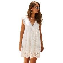 купить Summer women dress v neck hollow out loose sleeves lace lotus leaf short sleeve dress casual beach mini sundress 2019 по цене 877.77 рублей
