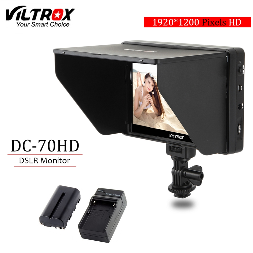 Viltrox DC-70HD 7'' 1920x1200 HD LCD Camera Video Monitor Display field IPS HDMI AV Input Battery & Charger for Canon Nikon DSLR