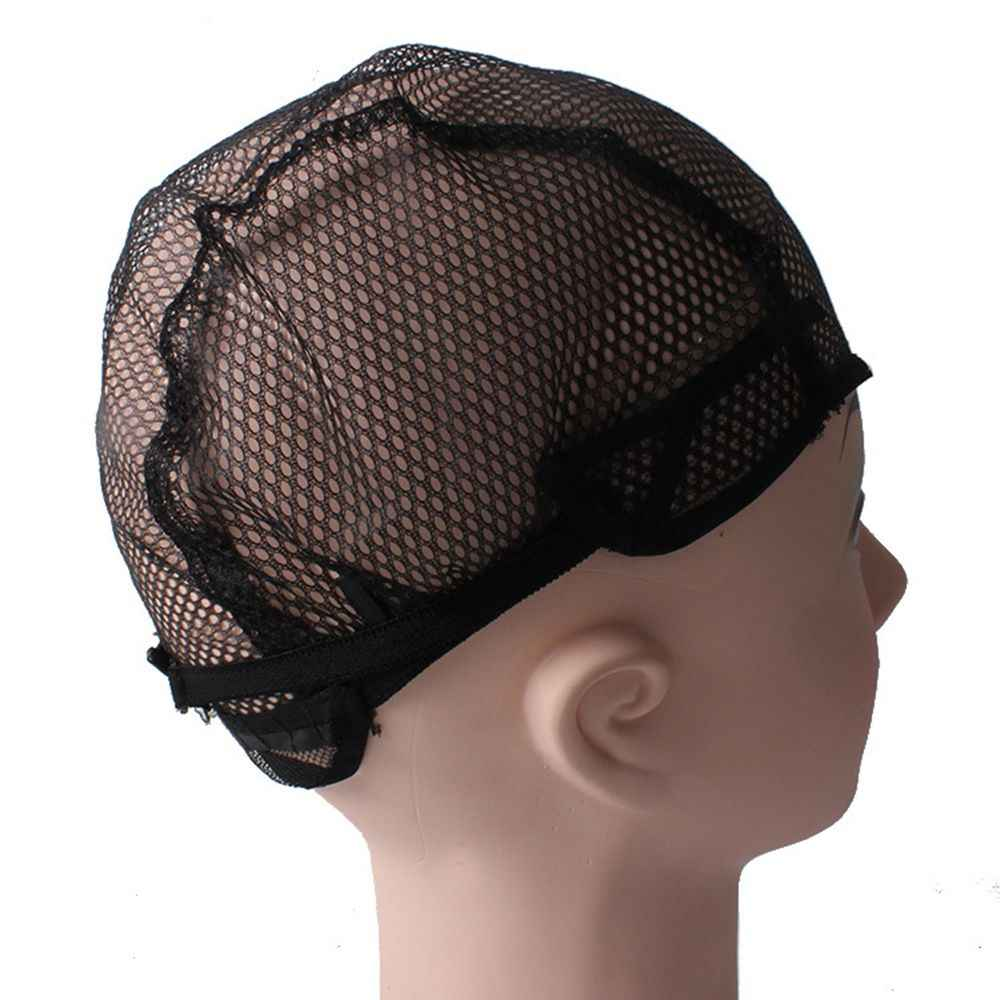 La mejor venta de gorras para el cabello de malla de buena calidad tejidas con red de peluca negra, gorras tejidas y gorras para el cabello Dropshipping
