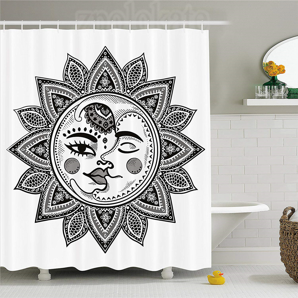 Home & Garden Aplysia Sun Moon Stars Space Crescent Boho Bohemain Black White Polyester Fabric Bathroom Shower Curtain Set With Hooks