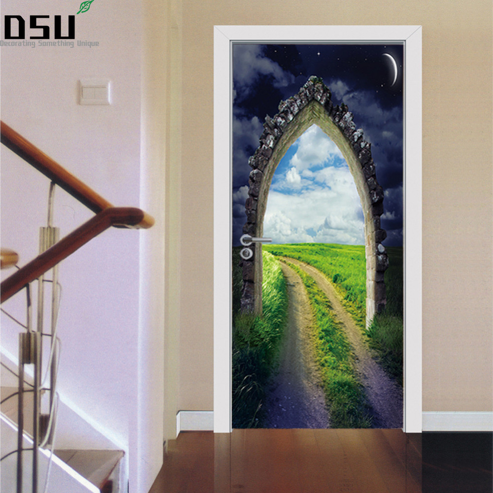 3D Door Stickers DIY Mural Bedroom Home Decor Poster European Stone Staircase Wall Sticker Removable Refrigerator Wallpaper diy airplane wall stickers airliner vinyl decal home decor 3d airplane silhouette aircraft home decor for kids and boys bedroom