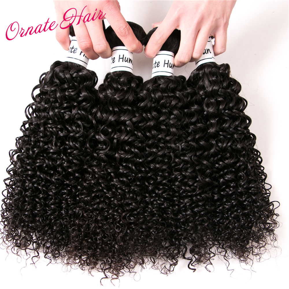 Ornate Peruvian Hair Bundles Kinky Curly Hair Extensions 4 Bundle Deals 12-24 Inch Non Remy Human Hair Weave Natural Color