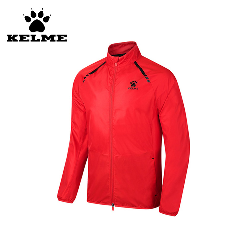 KELME Cool Trainning Jacket Men Quick Dry Running Jacket Outdoor Survetement Football Durable New Running Soccer Jacket Red 06 kelme outdoor sport soccer shoes kids synthetic leather antiskid football boots training shoes rubber sole