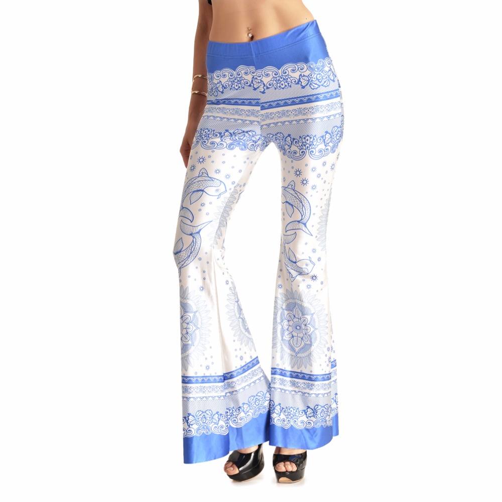 Plus Size Chinese Style Print Women Flare Pants Blue-and-white Porcelain Printing Casual Bell-bottom Pants Xxl 3xl 4xl 7 Size Punctual Timing