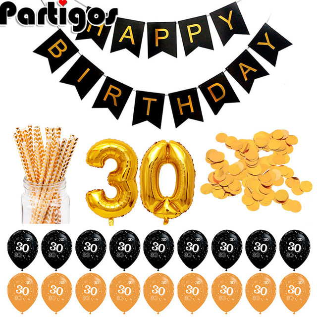 30 40 Birthday Balloons 30th 40th Party Decorations Adult Gold Anniversary Happy Decoration Favors
