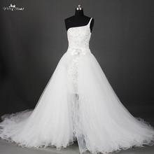 rsw803 detachable skirt bling bling gowns crystal high low two piece wedding dress