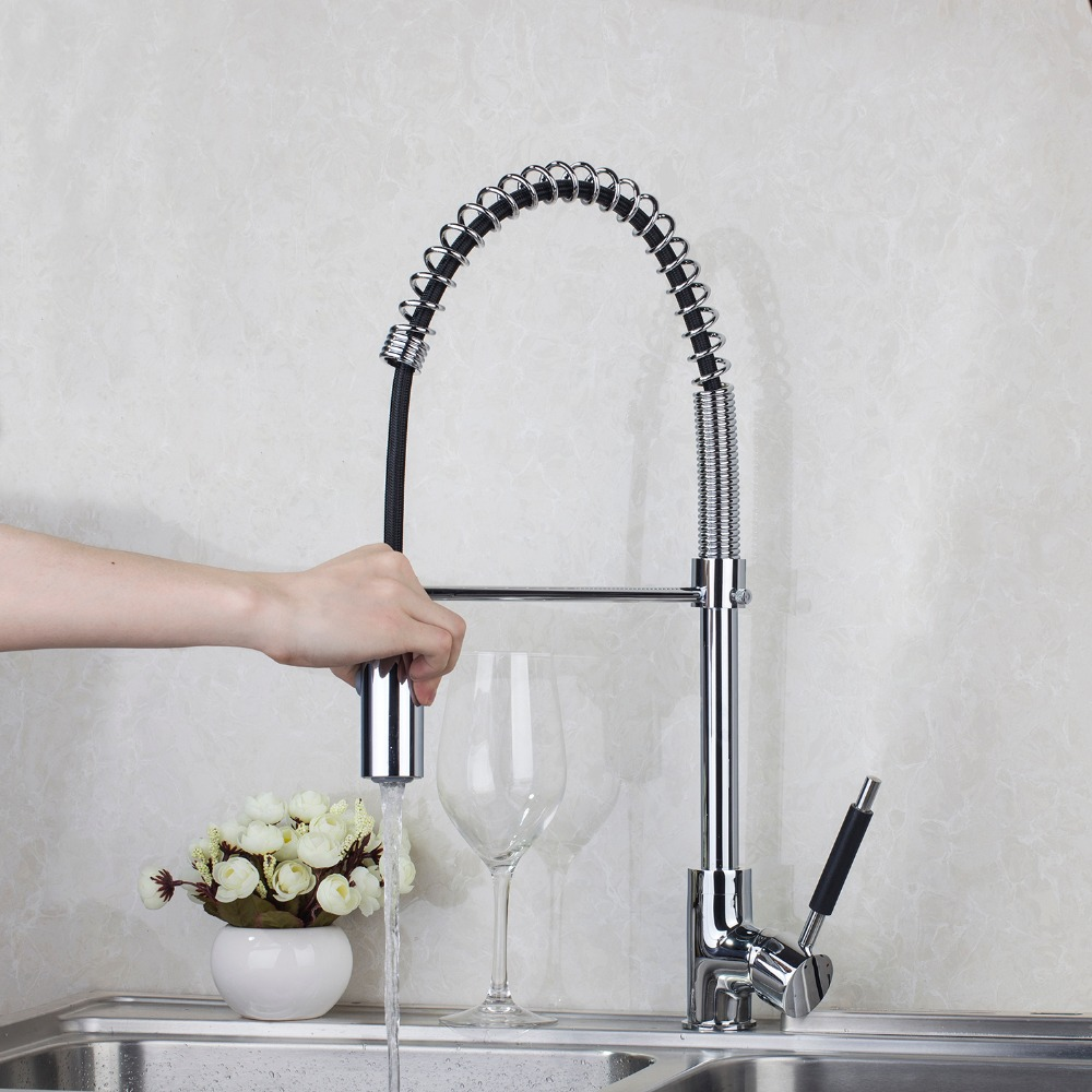 New LED Light ModernChrome Swivel Spout Pull out Spray Kitchen Single Hole Sink Faucet JN8538