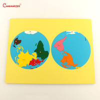Color Parts Puzzles of World Montessori Maps With Knob Games Geography Children Wooden Board Toys Teaching 3D Puzzle GE011