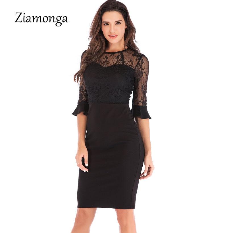 2cec208f56b Ziamonga Sexy Club Dress 2019 Vestido De Festa Lace Hollow Out Bodycon Dress  Elegant Half Sleeve