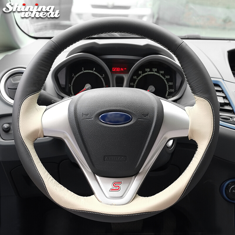 Shining wheat Black Beige Leather Car Steering Wheel Cover for Ford Fiesta 2008-2013 Ecosport 2013-2016 цена