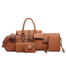 Woman Six Set of Composite Bag Tide Serpentine Grain Lady Zipper Hasp Should Bag Brown leather