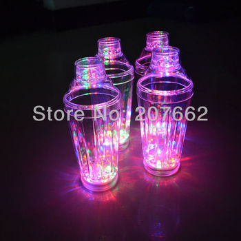 Free shipping 6pcs/lot 19OZ light Up Barware unique Flashing Strobing Cocktail Shaker bar tool for party supplies