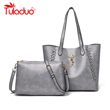 2 Sets Women Totes Bag PU Leather Casual Tote Bags Female Mobile Messenger Shoulder Luxury Brand Ladies Handbag