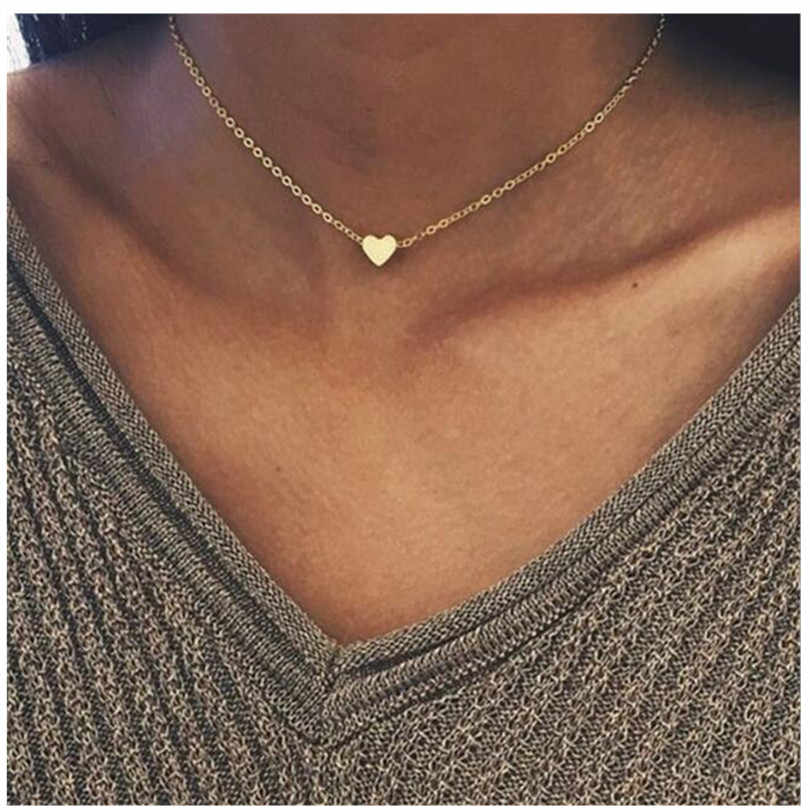 2019 New Gold Silver Plated Small Heart Necklaces Bijoux For Women Collars Fashion Jewelry Collarbone Pendant Necklace NA219