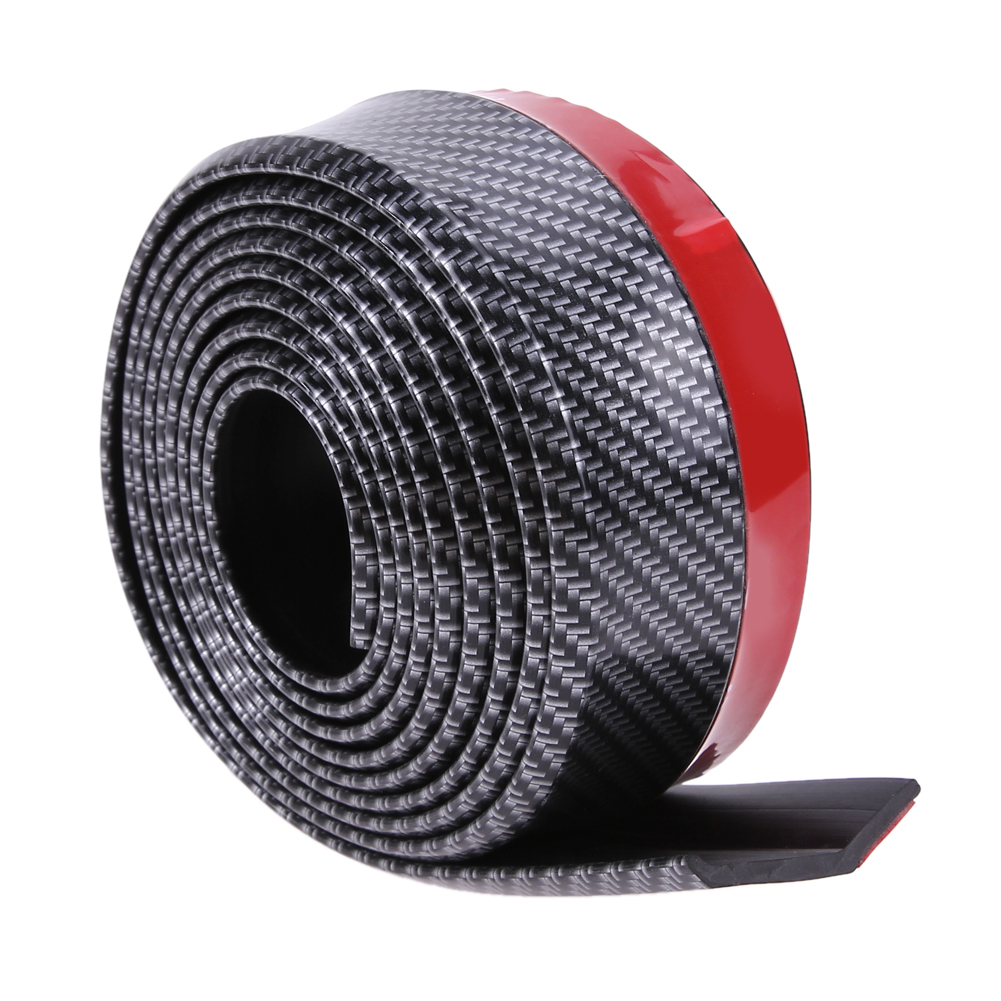 VODOOL Black Soft Carbon Fiber Car Rubber Bumper Strip Outside Bumper Front Lip High Quality for All Cars Exterior Parts 2 5m car rubber carbon stickers for skoda fabia octavia front lip bumper decoration for vw auto exterior stickers for toyota