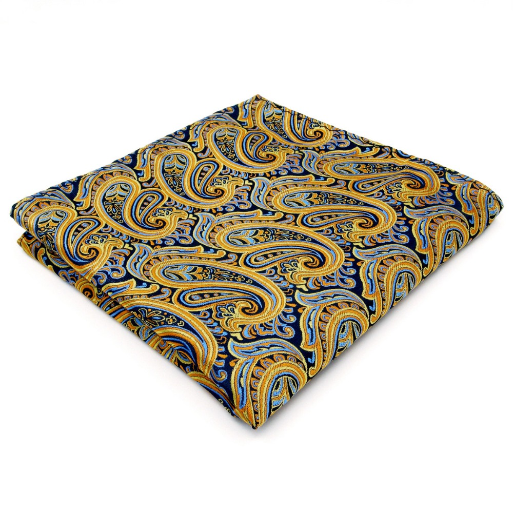 Paisley Blue Yellow Pink Handkerchief S Pocket Square Pocket Square Silk Big Size Wedding