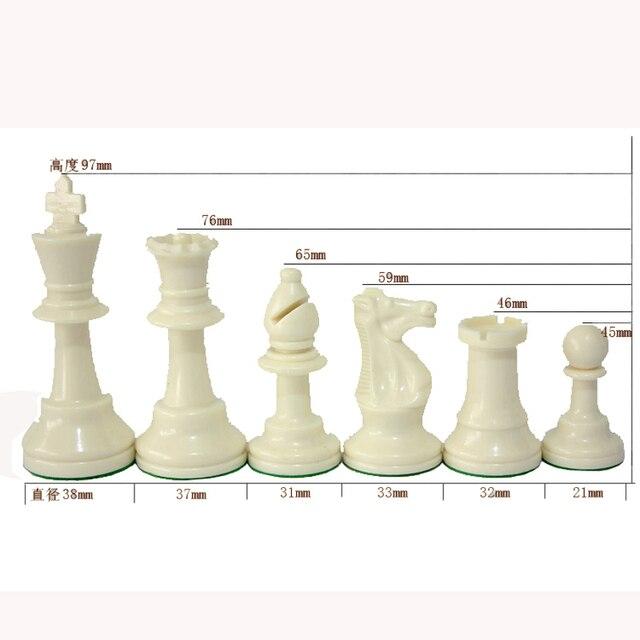 Jeu d'échecs Standard International, compétition King de 97mm, grand jeu d'échecs en plastique avec 4 jeux de société queen qenueson 3