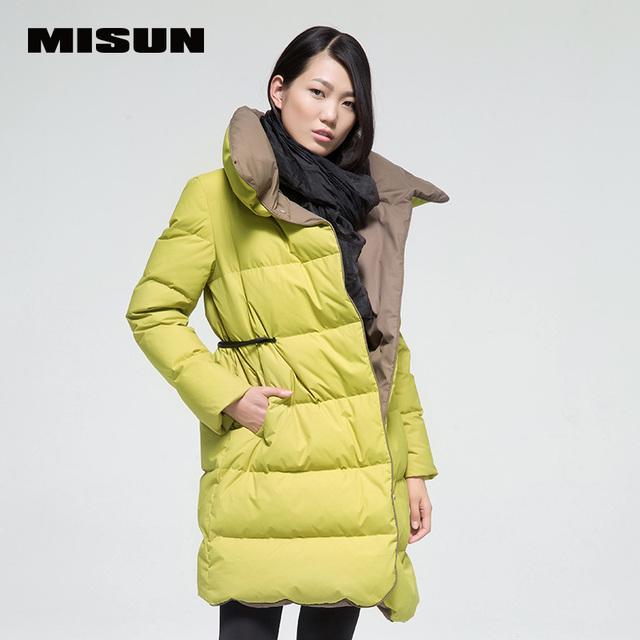 MISUN 2017 jaqueta de inverno mulheres de slim PU cintura gola espessamento tecido zíperes patchwork outwear para baixo casaco de médio-longo