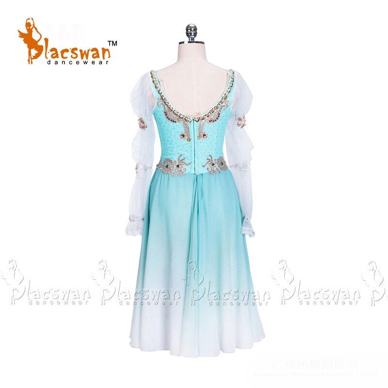Blue Ballet Dress Costumes Girls Long Fading Chiffon Ballet Dress Professional Stage Performance Ballet Dress Dancewear BT722