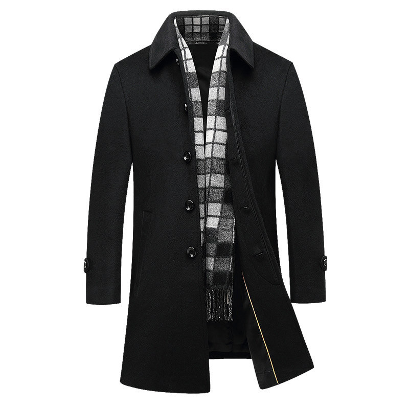 Vogue New Winter High Quality Men Turn-down Collar Wool Coats Men 71% Woolen Thicker Trench Coat Windbreaker Jacket Warm