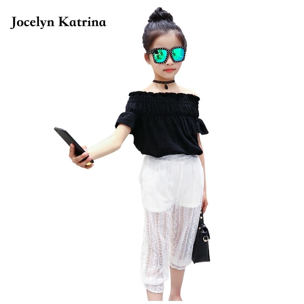 Buy Jocelyn Katrina 2017 Summer Girls Clothing Sets Baby Teenage Kids Shoulder Short Sleeve Shirt+Floral Print Long Pant 2Pc Suit