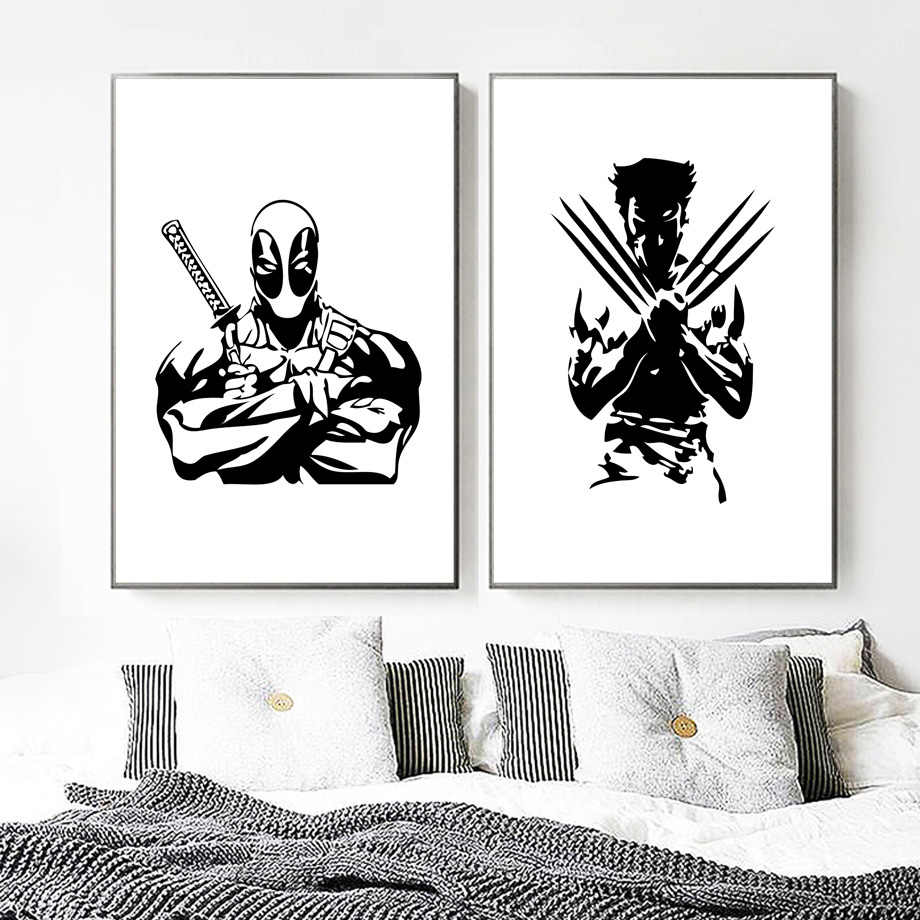 Deadpool wolverine marvel poster wall art print black white posters and prints pop art paintings wall