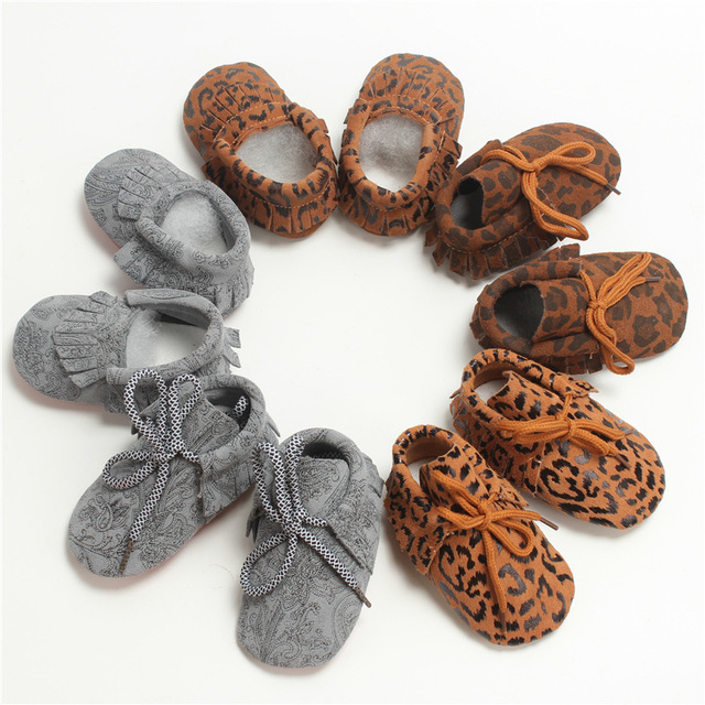 Fashion Genuine Leather Leopard First Walkers Children Newborn Baby Spring Autumn Shoes Infant Toddler Lace-Up Boots Booty 0-2T