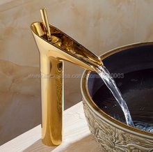Golden Waterfall Basin Sink Faucet Brass Mixer Single Handle Tap Bathroom Kgf057