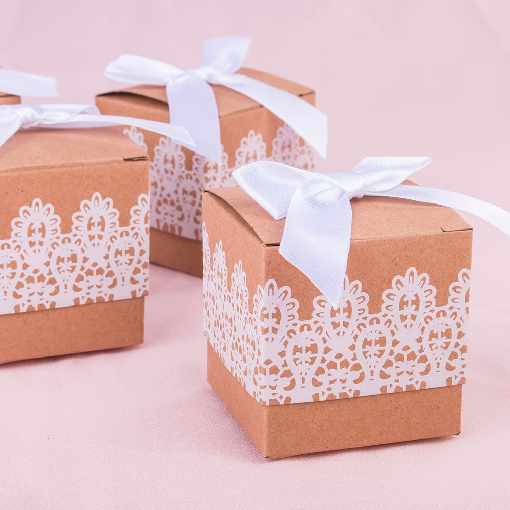 H&D New Rustic Cut Mini Kraft Paper Box,DIY Wedding Gift Favor Boxes ...