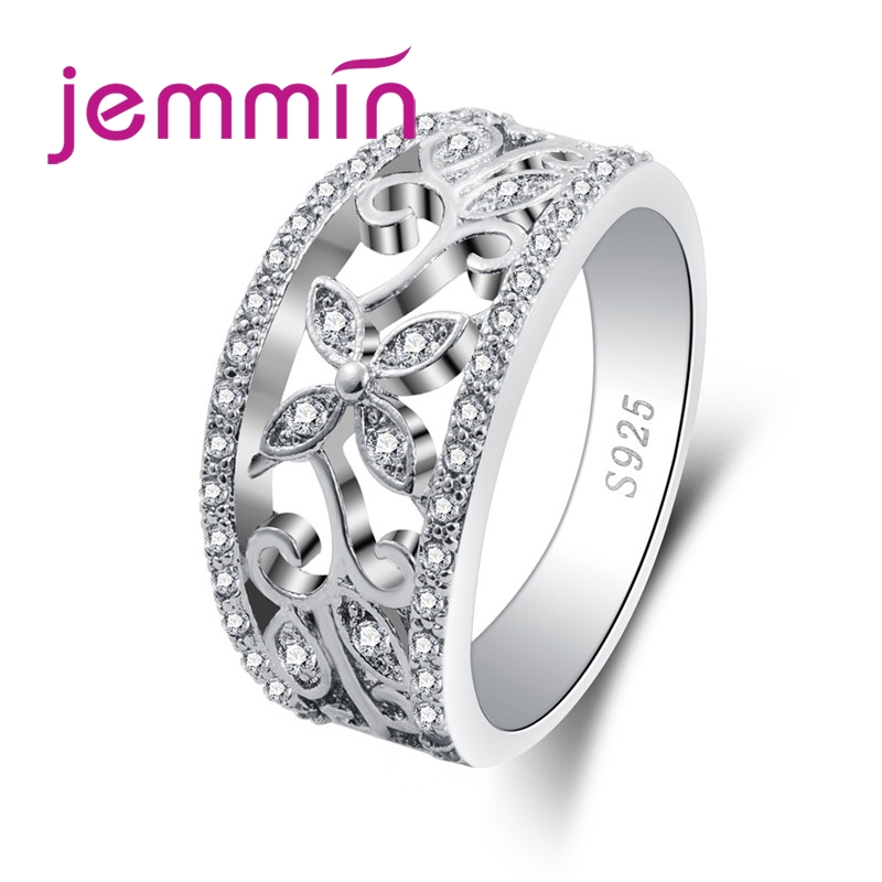 Wholesale Noble Women Flower Attractive Style White CZ Garnet 925 Sterling Silver Ring Size 6 7 8 9 10 Charming Jewelry(China)