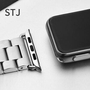 Image 5 - STJ Correa de acero inoxidable para Apple Watch, Serie de gomillas 5/4/3/38mm 2/1 42mm, correa de Metal para iwatch Series 4 40mm 44mm