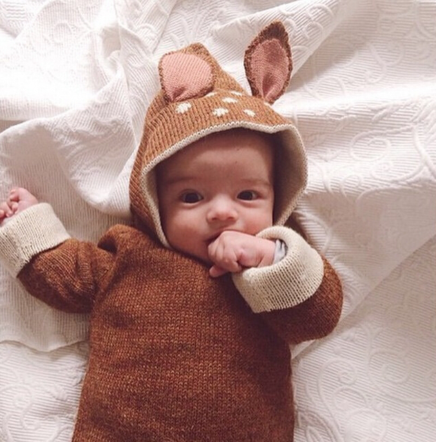 Newborn Baby Sweater Cute Deer Ear Design Hooded Cardigan Girl Boy Knitted Coat kids Outdoor Wear Children Clothing Brown 1-4Y