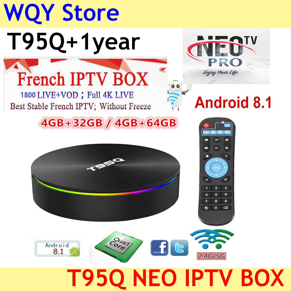 2019 T95Q French IPTV Android 8 1 S905X2 1800 NEO tv vod iptv subscription France Arabic